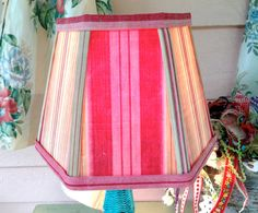 Rose Lamp Shade Lampshade in Vintage Ticking by lampshadelady