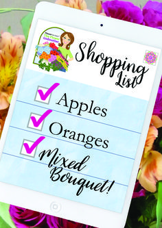 Flower Godmother's Shopping List: Apples - Oranges - Mixed Bouquet!  #listseries #shopping #everydayflowers #fgmdiy