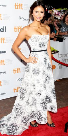 Nina Dobrev in strapless Monique Lhuillier gown at premiere of 'The Perks of Being a Wallflower'