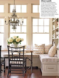 00 7 Ideas for Kitchen Banquettes Kitchen banquette: A built-in storage wall elevates this traditional-style banquette from breakfast nook to multi-purpose corner. More ideas for banquettes: www. Traditional Decor, Traditional House, Traditional Kitchens, Traditional Windows, Kitchen Ikea, Kitchen Island, Kitchen Shelves, Kitchen Pantry, Kitchen Decor