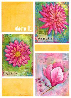 mixed media flowers;