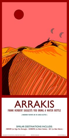 """Bremen, Germany-based illustrator Autun Purser has created """"Fantastic Travel Destinations,"""" a collection of illustrations depicting locations from literature as colorful travel posters. The collection of 40 illustrations includes the planet Arrakis from Dune by Frank Herbert, Tycho from Arthur C. Clarke's 2001: A Space Odyssey, Yuggoth as described by H.P. Lovecraft, the mysterious ocean from Twenty Thousand Leagues Under the Sea by Jules Verne, and even locations from The Lord of the Rings."""