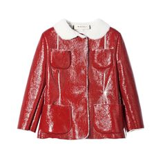 MARNI RED SHEARLING LEATHER JACKET 40 - 4