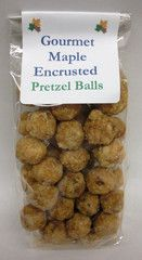 Pretzel Balls coated with pure maple syrup for a light maple snack
