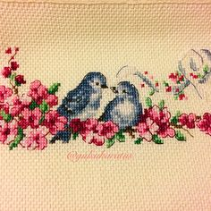 Kanaviçe havlu, cross stitch, kuş