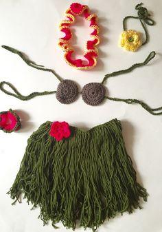 Handmade crochet baby hula girl Hawaiian dancer photo by SueStitch
