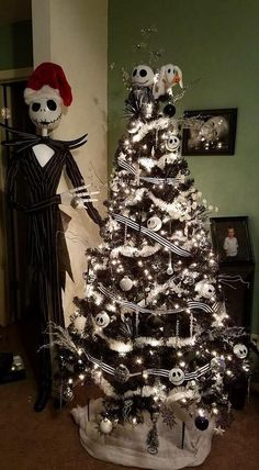 nightmare before christmas christmas ornaments nightmare before tree idea country times nightmare before christmas tree decorations uk Halloween Christmas Tree, Nightmare Before Christmas Ornaments, Country Christmas Trees, Black Christmas Trees, Ribbon On Christmas Tree, Christmas Tree Themes, Disney Christmas, Xmas Tree, Christmas Tattoo