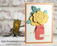 Thank You Card. Handmade using Wild Rose Dies, Jar Punch, Blossoms in Bloom Stamp Set, In Color, Ornate Garden Ribbon Combo Pack, Gold Glitter Enamel Dots and Stampin' Cut & Emboss Machine from Stampin' Up! Visit www.hippofrogdesigns.co.uk for more project ideas. Class Projects, Emboss, Gold Glitter, Blossoms, Thank You Cards, Project Ideas, Punch, Stampin Up, Card Ideas