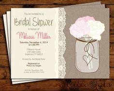 Bridal Shower Invitation - Wedding Shower Invite - Bridal Brunch - Mason Jar Invitation - Burlap - Baby Shower - Birthday- Printable Invite