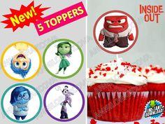 Printable Disney Inside out Cupcake Topper, Cake Pop Topper,picks, decor, dye #Disney #party