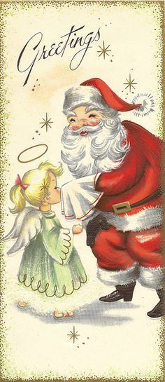 Vintage Christmas cards from a sample book. Vintage Christmas Images, Retro Christmas, Vintage Holiday, Christmas Pictures, Christmas Art, Christmas Glitter, Christmas Scenes, Father Christmas, Vintage Santas