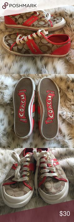 Red Coach Sneakers Here sneakers do have some wear on them, but definitely have some life left also! :) Coach Shoes Sneakers