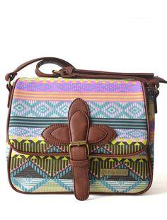 Fresh Rainbow Geometric Canvas Shoulder Bag
