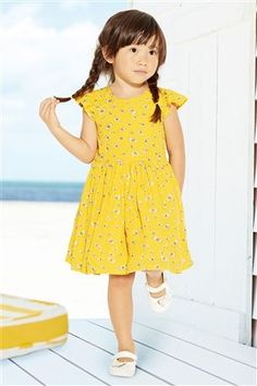 Buy Yellow Bow Print Dress (3mths-6yrs) from the Next UK online shop