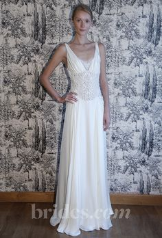 "Brides: Temperley London - 2013. ""Henrietta"" embroidered chiffon v-neck sheath wedding dress with beaded bodice details, Temperley London"