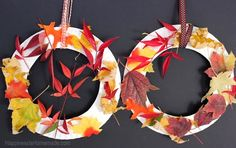 Kids Craft: Fall Leaf Wreath Herfst krans maken - in de Activitheek - thema Herfst. Leaf Crafts Kids, Thanksgiving Crafts For Kids, Toddler Crafts, Crafts To Make, Autumn Leaves Craft, Autumn Crafts, Fall Leaves, Color Style, Autumn Theme