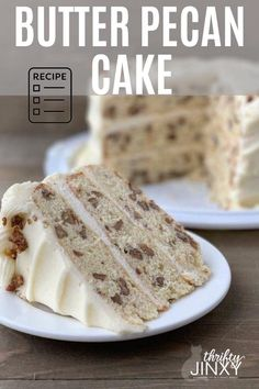 This Toasted Butter Pecan Cake Recipe isfilled with nuts, cream cheese and yummy goodness! #pecans #pecancake #butterpecan #dessert Pecan Recipes, Cake Recipes, Dessert Recipes, Frosting Recipes, Just Desserts, Delicious Desserts, Yummy Food, Italian Christmas Desserts, Christmas Cupcake Cake