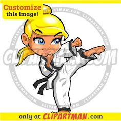 Karate clipart Girl & Martial Arts cartoon Kick - Clipartman.com