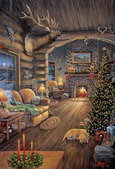 Rustic Christmas - Sam Timm.  I love looking at every inch of this cabin room and wish I could be there.