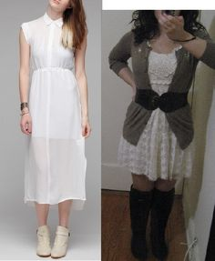 Little White Dress - Outfits restyled from Pinterest for the Petite Hourglass on a budget!  idpinit.wordpress.com