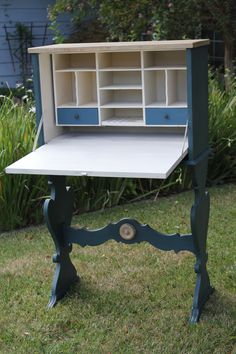 1800's secretary painted in Chalk Paint™ brand decorative paint in Old White and Aubusson Blue
