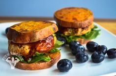 BBQ turkey sweet potato sliders with spinach & arugula mix and blueberries. Boom.