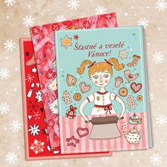 Vánoční přání 3 kusy Séria 3 vianočných ilustrovaných pohľadníc - pohľadnice sú otváracie, vytlačené na bielom papieri s jemnou štruktúrou, 240g vo vnútri bez potlače