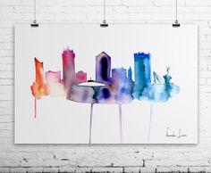 WICHITA City Watercolor Painting - Art Print - Wall Art - skyline poster