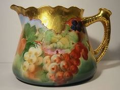 Limoges Cider Pitcher signed Pickard 1900-1949