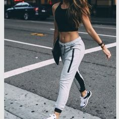 top trainers crop tops nike shoes fashion nike running shoes pants black crop top joggers outfit trendy grey sweatpants streetwear streetstyle black t-shirt black top comfy crop top nike