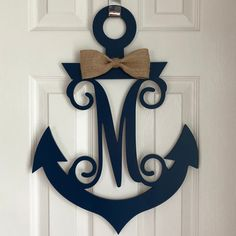 This monogram anchor door hanger is the perfect way to dress up your door all year long! Anchor Wreath, Nautical Wreath, Initial Wreath, Nautical Baby, Nautical Home, Nautical Anchor, Wood Anchor, Anchor Monogram, Diy Monogram