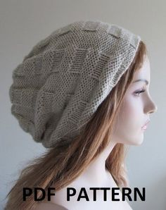 95faad2a243eb Knitting pattern for Hipster Slouchy Hat with modified woven stitch pattern  Knit Slouchy Hat Pattern