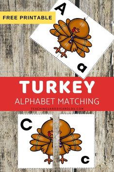 Looking for a fun way to work on alphabet skills during the fall? This Thanksgiving alphabet activity includes free printable turkey cards that challenge preschoolers to match the uppercase letter to the lowercase letter.#printable #cards #puzzle #Thanksgiving #turkey #alphabet #letters #literacy #printable #preschool #3yearolds #4yearolds #teaching2and3yearolds#printable #cards #puzzle #Thanksgiving #turkey #alphabet #letters #literacy #printable #preschool #3yearolds #4yearolds #te Toddler Learning Activities, Alphabet Activities, Literacy Activities, Learning Games, Free Preschool, Preschool Crafts, Preschool Ideas, Kids Crafts, Printable Turkey