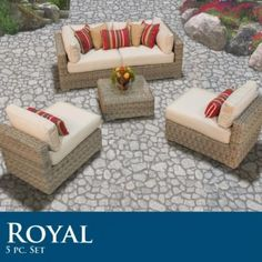 "Royal 5 Piece Outdoor Wicker Patio Set 05C by TK Classics. $2055.00. High quality round wicker in rich hues of vintage stone. (2) Corner Sofa - 35"" W x 35"" D x 26"" H (1) Coffee Table - 27"" W x 27"" D x 12"" H (2) Armless Sofa - 27"" W x 35"" D x 26"" H Throw Pillows **NOT INCLUDED** Call for available options. High Density PE (polyethylene) recyclable wicker - NOT made with PVC which is toxic and non-recyclable. Comes Standard with Sunbrella Cushions. Ultra Deep seating modul..."