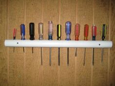 {pvc-pipe screwdriver storage} made with a 1-foot length of 1.25-inch pipe. holes spaced on 2-inch centers. check out this website for several other pvc-pipe projects. #myo #howto #garage