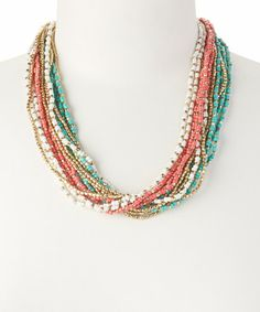Another great find on #zulily! Coral & Turquoise Seed Bead Necklace #zulilyfinds