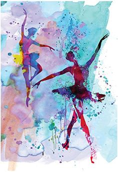 Two Dancing Ballerinas Watercolor 2 Poster by Irina March…