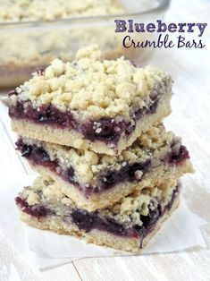 Blueberry Crumble Bars. Incredibly easy bars that are perfect for using those fresh Summer berries!