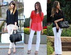 como usar calça branca com blusa preta