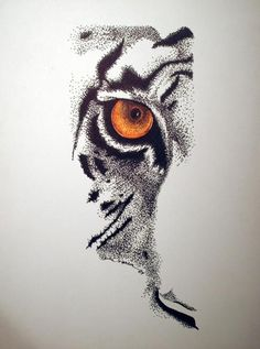 Dotwork orange-eyed half tiger face tattoo design