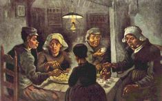The Potato Eaters, completed in 1885, is considered by many to be Van Gogh's first great work of art. At the time of its creation, Van Gogh had only recently started painting and had not yet mastered the techniques that would later make him famous.