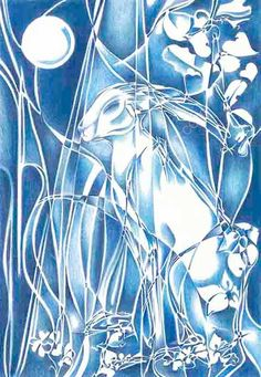 Hare By Moonlight - £465 - WINNER Best Fantasy UKCPS National 2016 - pure colour pencil DY Hide