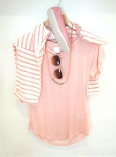 Inwear pink tee, £34.95 Sandwich sunglasses, £25 Tutti necklace, £29.50 Victoria pumps, (was £45) £22.50 Part Two striped jumper, £49.95