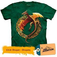 Circle Dragon - Dragons la doar 135,20RON Dragons, Mountain, 3d, Mens Tops, T Shirt, Women, Fashion, Tee, Moda