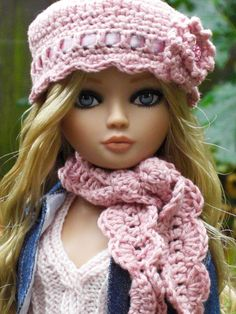 Crocheted hat and scarf by Silkspike Dolls - Knitted top by Lel-Bills. Pictured on Ellowyne Wilde doll by Wilde Imagination.