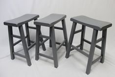 "eHemco Set of 3 Heavy Duty Saddle Seat Bar Stools Counter Stools - 24"" Grey(Gray)"