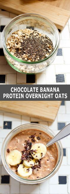 Oats, banana, almond milk, chia seeds and chocolate protein powder come together to make a quick and easy, healthy breakfast option that tastes like dessert. You do the prep work the night before ...