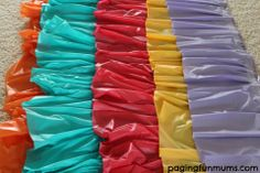 This DIY Rainbow Ruffle Tablecloth is the perfect addition to any Rainbow Party! Mexican Birthday Parties, Mexican Party, Fiesta Theme Party, Party Themes, Party Ideas, Theme Parties, Luau Party, Ruffled Tablecloth, Plastic Tablecloth