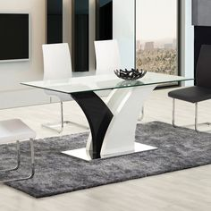 Bring a modern, artistic feel to your dining area with the Eagle Furniture Rectangular Dining Table . This tempered glass dining table sits. Sofa Table Design, Dinning Table Design, Simple Dining Table, Glass Dining Room Table, Dining Area, Wooden Dining Table Designs, Contemporary Dining Table, Dining Tables, Luxury Dining Room