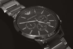 #analogue #black and white #chrome #classic #close up #countdown #deadline #dial #emporio armani #fashion #hours #jewelry #late #minute #number #numbers #precision #quartz #time #timepiece #watch #wristwatch